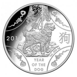 1 oz Silber Dog Hund  Lunar  2018 PP Rooster RAM
