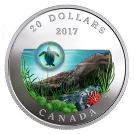 1 Unze Silber Canada Underwater Life 3D Water Droplet 2017 Turtle Schildkröte VVK