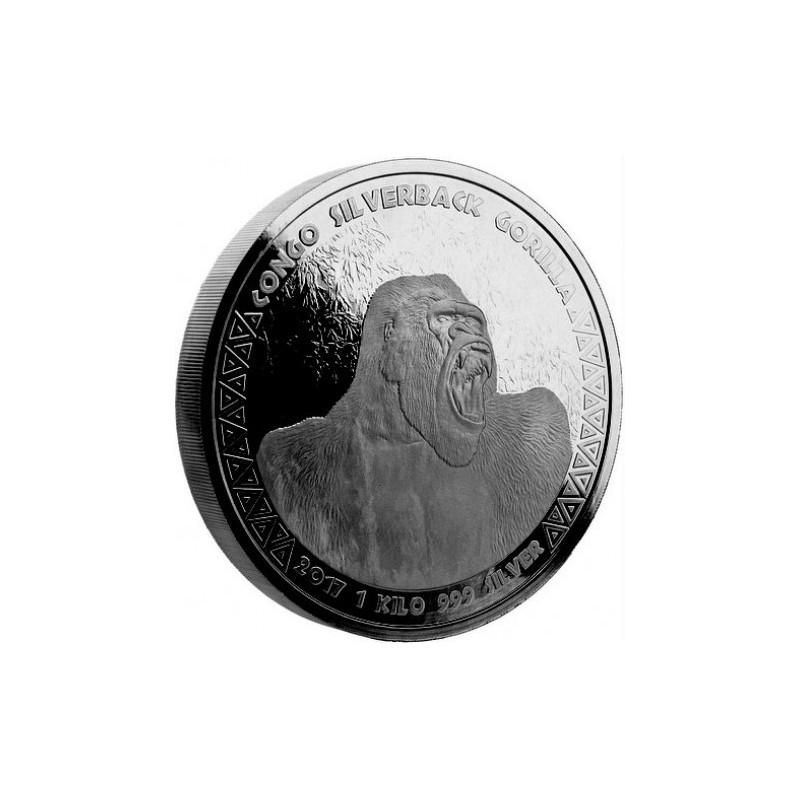 1kg Silber  Silberrücken Gorilla Kongo 2017