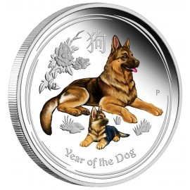 1 oz Silber Dog Lunar II 2018 PP coloured