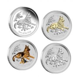 4 x 1 oz Silber Hund Lunar II 2018 Typeset