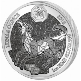1 Unze Silber Ruanda Hund 2018 PP