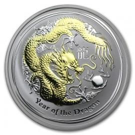 1 oz Lunar 2 Dragon   Gilded  mit Box