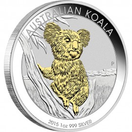 1 unze Silber Koala 2015  Box Gilded