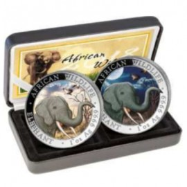 2 x1 oz Somalia Elefant Day Night 2018