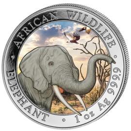 1 Unze Silber Somalia Elefant 2018 Coloriert