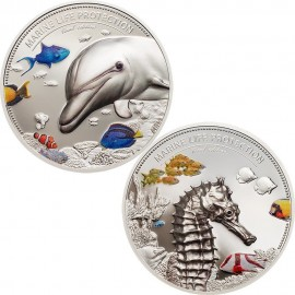 2 x 2 Unzen Silber DOLPHIN AND SEA HORSE Marine Life Protection Set  10$ Palau 2017