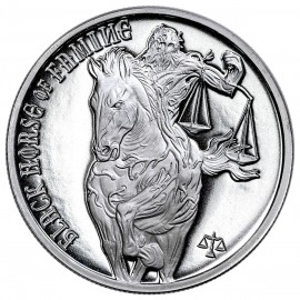 "Silver round Provident FOUR HORSEMEN OF THE APOCALYPSE ""Black HORSE OF Famine 2017"""