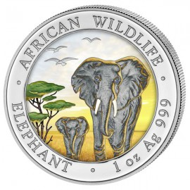 1 oz Somalia Elefant 2015 coloriert