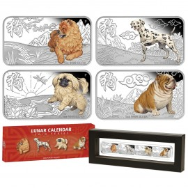 Tuvalu Year of the dog 4 x 1 Unze Silber  Lunar Calendar Barrenset