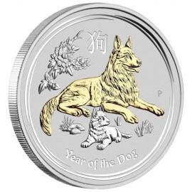 1 Unze  Lunar 2 Hund Dog  Gilded  mit Box 2018