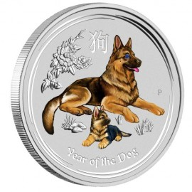 1 Kg Silber Hund Lunar II 2018 mit Diamantauge  coloriert dog