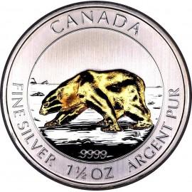 1,5 oz silver polar bear gilded