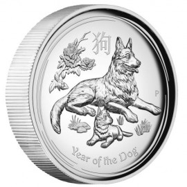 1 oz Silber Hund dog Lunar II 2018 High Relief