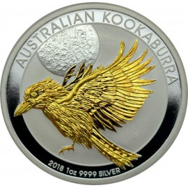 1 Unze Silber Australien Kookaburra 2018 Gilded