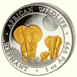 1oz Somalia Elefant 2014 Gilded