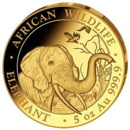 5 oz Gold Somalia Elefant 2017 PP (inkl. Holzbox)