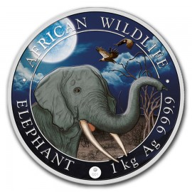 1 Kilo Silber Somalia Elefant 2018 Night Edition Giant Moon  farbig