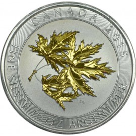 1,5 Unze Silber Maple Leaf 2015 Gilded