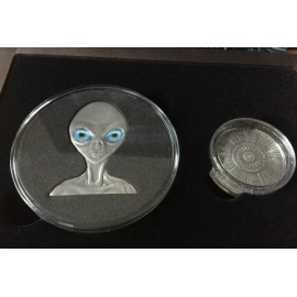 2 x 1 OZ Silber Burkina Faso 2017 Roswell UFO Set 70 Jahre Rosewell Incident