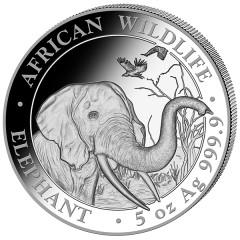 5 Unze oz Silber Somalia Elefant 2018
