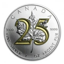 1 Unze Silber Maple Leaf 2013 25 Jahre Gilded