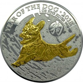 1 Unze Silber Lunar UK 2018 Hund gilded