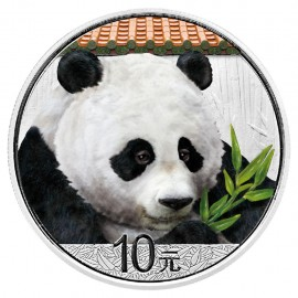 30 Gramm  China Silber Panda 2018 Coloriert  Variante Rotes Dach