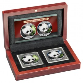 2 x 30 Gramm  Set Night & Day China Silber Panda 2018