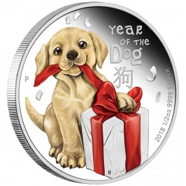 1/2 Unze Silber Baby Hund Dog Perth Mint PP Tuvalu