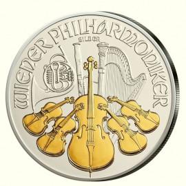 1 Unze Wiener Philharmoniker Teilvergoldet Gilded2015
