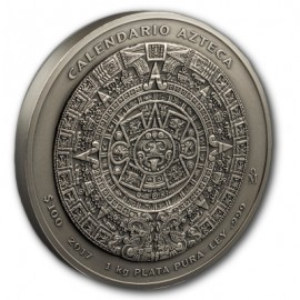1 Kilo Silber Aztekenkalender Antique Finish 2017