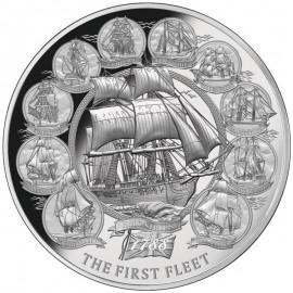 2 Unzen oz Silber Niue  5 $ - The First Fleet 2018 Ultra High Relie