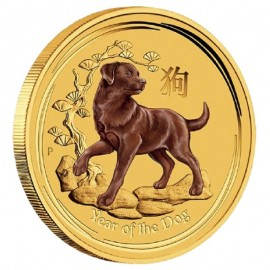 1/20 oz Gold Lunar II Hund 2018 farbig