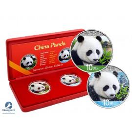 2 x 30 Gramm  Set Sommer Winter China Silber Panda 2018