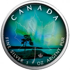 1 Unze SilberMaple Leaf Northern Lights - Nordlichter - Quebec Farbe farbig 1 oz Silber Kanada 2018