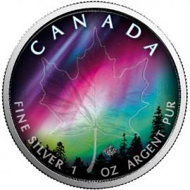 1 Unze Silber Maple Northern Lights - Nordlichter Alberta Farbe farbig Kanada 2018