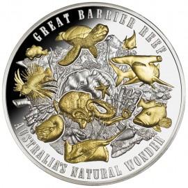 5 Unzen Silber Great Barrier Riff Australien Wunder der Natur Gilded Niue