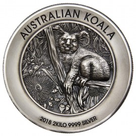2 kg Silber Koala 2018 Antique Finish High Relief