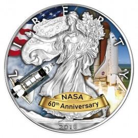 1 Unze Silber American Eagle 2018  Space shuttle 60 Jahre Nasa