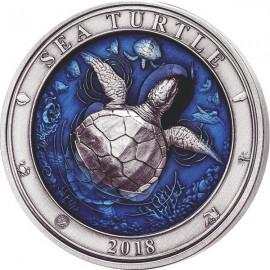 3 Unzen Silber  Turtle Barbados 2018 AF coloured