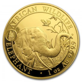 1 oz Unze Gold Somalia Elefant 2018 Privy Hund
