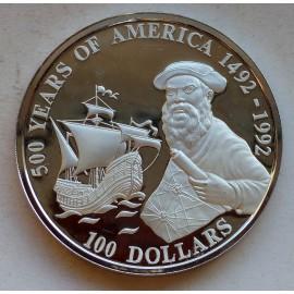 5 Unzen Silber100 Dollars 1990 Cook Islands Magellan - 500 Jahre Entdeckung Amerikas PP