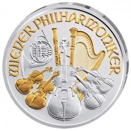 1 Unze Wiener Philharmoniker Teilvergoldet Gilded 2018