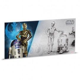 1$ 2018 Niue   5 g Silber STAR WARS™ - R2-D2 und C-3PO MÜNZNOTE - A NEW HOPE