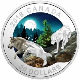 1 Unze Silber Canadian Geometric Fauna - Grey Wolves - Grauwölfe 2018
