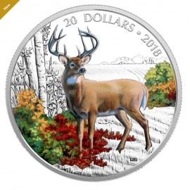 1 Unze Silber Kanada 20 $ Dollar Majestic Wildlife Animals - Wandering White-tailed Deer PP 2018 **