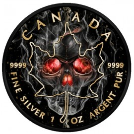 1 Unze Silber Maple Leaf  Smoked Skull 2018
