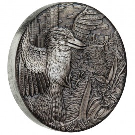 2 Unzen Silber Kookaburra  2018 High Relief Antique