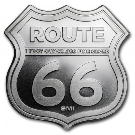 1 Unze Silber Round  Icons of Route 66 Shield (Illinois Gemini Giant)